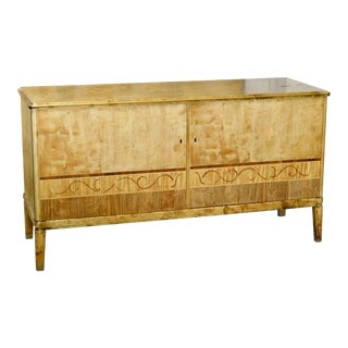 1930's Art Deco Sideboard Cabinet in Golden Birch For Sale