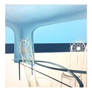 1980s Rene Marchetti Blue Interior Painting For Sale