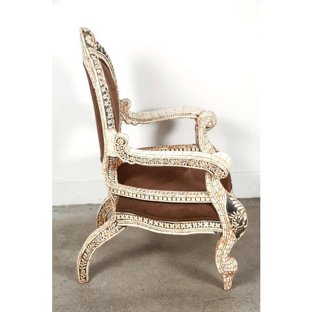 Early 20th Century Vintage Bone Inlaid Anglo-Indian Armchair For Sale In Los Angeles - Image 6 of 8