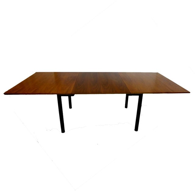 Mid 20th Century Edward Wormley for Dunbar Walnut Extension Dining Table W Leather Wrapped Feet For Sale - Image 5 of 10
