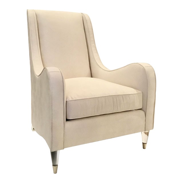 Caracole Modern White Just Wing It Club Chair Prototype For Sale