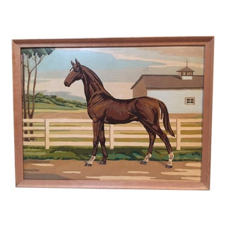 Large Vintage Paint by Number Horse Painting For Sale