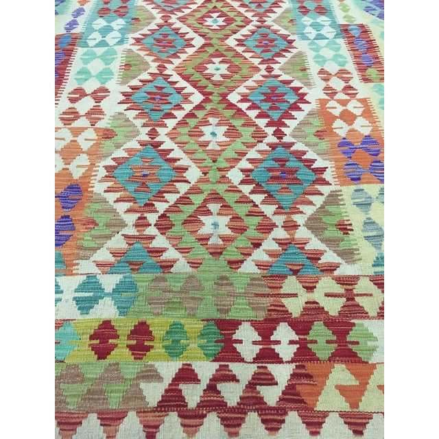 """Hand Knotted Traditional Design Uzbek Kilim. 5'0"""" X 6'8"""" For Sale In Los Angeles - Image 6 of 7"""
