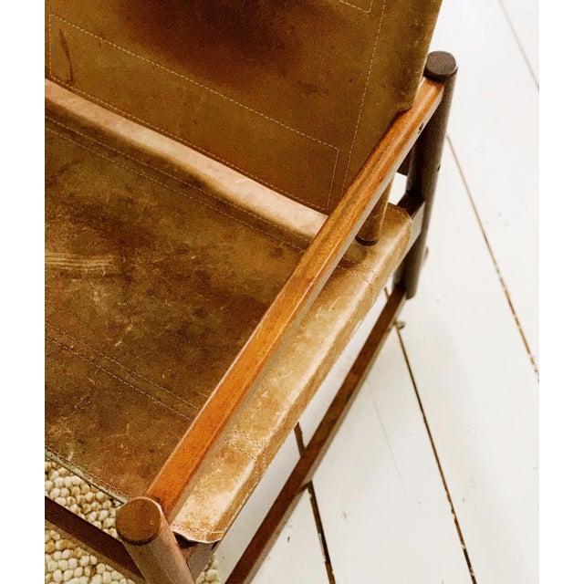 Brown Michel Arnoult Leather Sling Rocker For Sale - Image 8 of 9