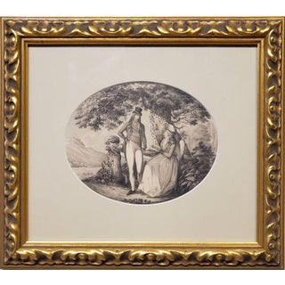 Ink Drawing of a Man Courting A Woman Signed by B. Koller dated 1796 For Sale