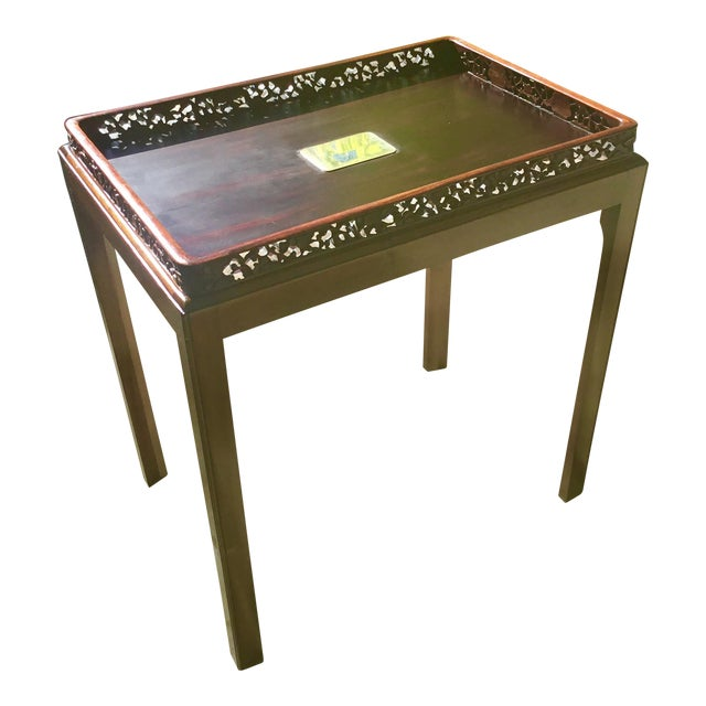 Chinoiserie Chippendale Rosewood Tray Table For Sale