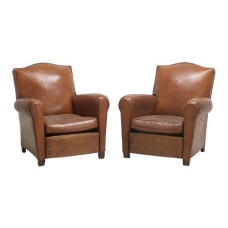 Art Deco French Original Leather Club Chairs - a Pair For Sale