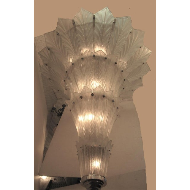 Metal Palatial, Gigantic French Art Deco Art Glass Chandelier by Sabino For Sale - Image 7 of 13
