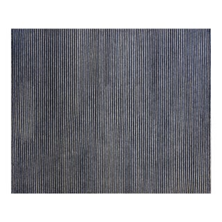 Contemporary Blue and White Striped Rug (9x12) For Sale
