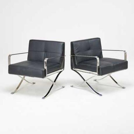 Leather & Chrome Office Chairs - a Pair - Image 2 of 5