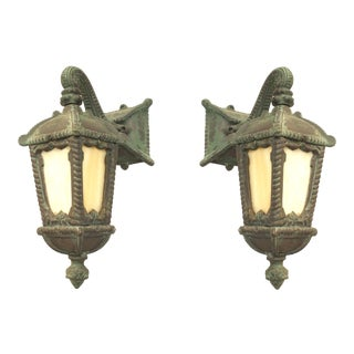 American Victorian Iron Outdoor Wall Sconces - a Pair For Sale