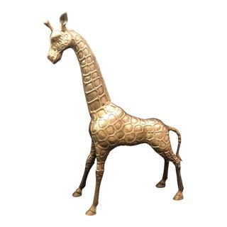 "Large 20"" Vintage Brass Giraffe"