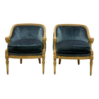 Neo-Classical Carved Ram Arm Chairs - a Pair For Sale