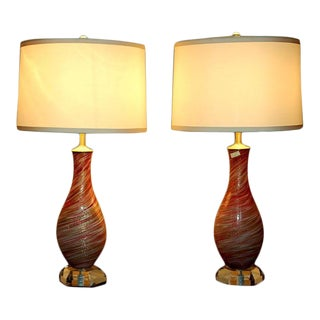 Vintage Pink Murano Glass Lamps by Fratelli Toso For Sale