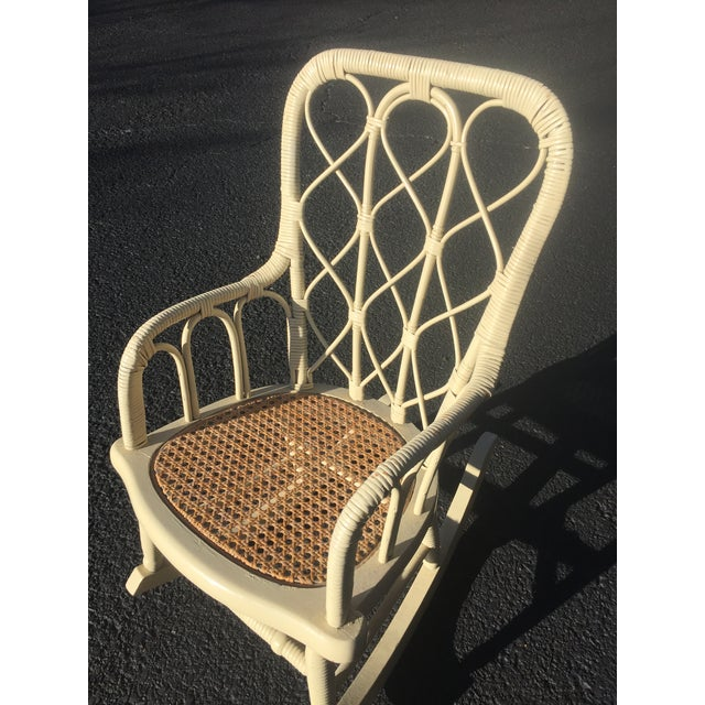 1900 - 1909 Antique Victorian Wicker Childs Rocking Chair For Sale - Image 5 of 9