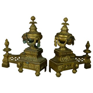 Antique French Empire Figural Bronze Urn and Flame Form Fireplace Andirons- A Pair For Sale