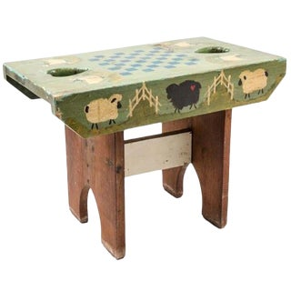 1970s Vintage Rustic Style Painted Child's Bench For Sale