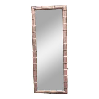Faux Bamboo Weathered Copper Rectangular Mirror, Mid-Century Modern For Sale