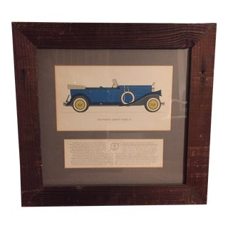 Vintage Framed 1930 Pierce Arrow Model B Car Print For Sale