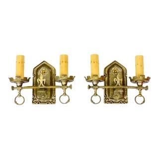 1920's Lion Electric Double Arm Brass Sconces - a Pair For Sale