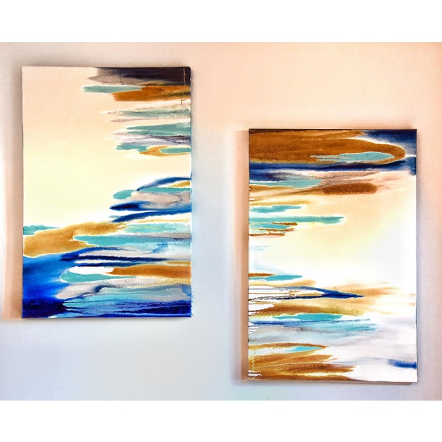 Acrylic with Oil Finish on Canvas. 36x24 by Trudi Norris. Available as a pair with Blue Laguna I at a discounted price.