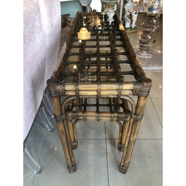 1970s Vintage Tropical Bamboo Rattan Console Table and Benches - 3 Pc. Set For Sale - Image 5 of 13