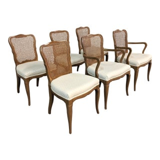 1980s Vintage French Provincial Cane Dining Chairs - Set of 6 For Sale