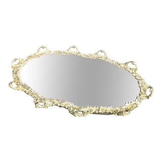 Oval Silverplate Mirror Tray W/ Ornate Looped Border For Sale