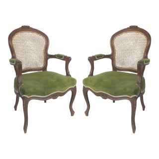 Hand Caned French Louis XV Style Fauteuil Armchairs in Velvet - a Pair