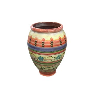 Hand Painted Artisanal Oil Jar Planter From Morocco For Sale