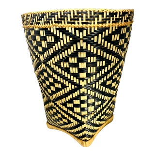 Vintage African Geometric Woven Reed Diamond Tribal Waste Basket For Sale