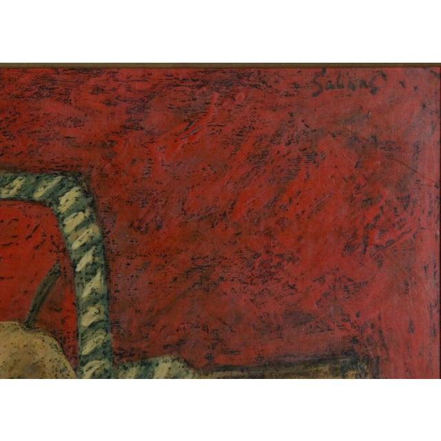 Artist: Laurent Marcel Salinas, Egyptian/French (1913 - 2010) Title: Nature Morte au Fond Rouge Medium: Oil on Masonite...