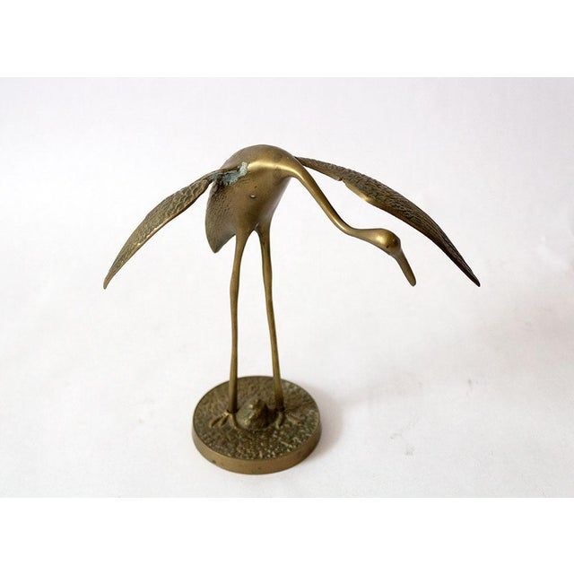 Asian Mid Century Brass Crane Figurines - a Pair For Sale - Image 3 of 12