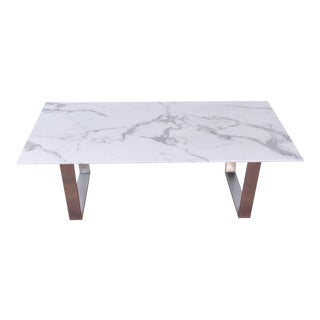 Zuo Modern Atlas Stone and Brushed Stainless Steel Coffee Table For Sale