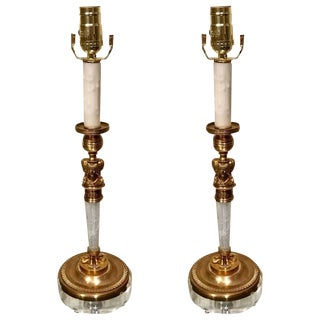 Rock Crystal and Ormolu Lucite Mounted Candlestick Lamps - a Pair