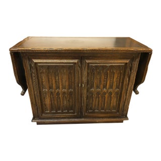 Dark Walnut Sturdy Buffet Cart For Sale