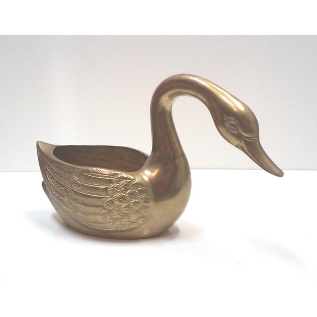 Hollywood Regency Brass Figural Swan Cachepot - Image 3 of 9