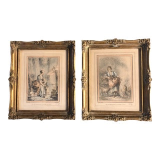 Gallery Wall Collection 2 Original Vintage French Romantic Lithographs French Frames For Sale