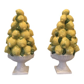 Vintage Italian Porcelain Lemon Topiary - a Pair