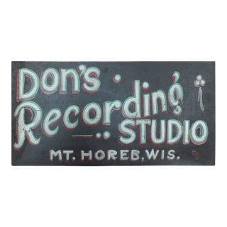 "1930s Hand-Painted ""Recording Studio"" Masonite Sign For Sale"