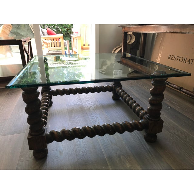Mediterranean Spanish Wood & Glass Turned Leg Coffee Table For Sale - Image 3 of 3