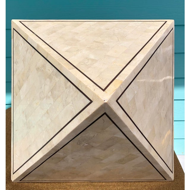 Art Deco 1970s Maitland Smith Tessalated Stone Side Table For Sale - Image 3 of 11