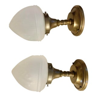1940s Deco Semi Flush Lights With Brass Finish and White Glass - a Pair For Sale
