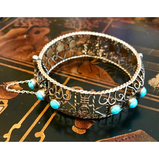1940 Chinese Gold, Sterling and Turquoise Bangle For Sale - Image 4 of 8