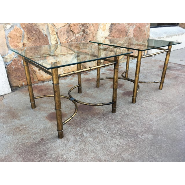 Vintage Faux Bamboo Gold Metal & Glass Side Tables - a Pair For Sale - Image 12 of 12