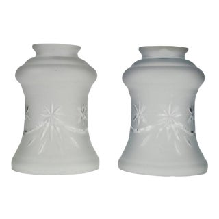 Victorian Style Frosted and Etched Glass Shades - a Pair For Sale