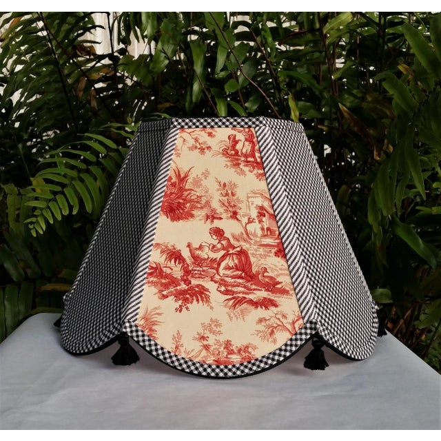 2010s Red Toile Lampshade Black White Gingham For Sale - Image 5 of 11