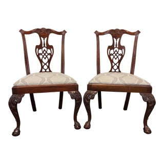 Hickory Chair Chippendale Ball in Claw Mahogany Dining Side Chairs - Pair 2 For Sale
