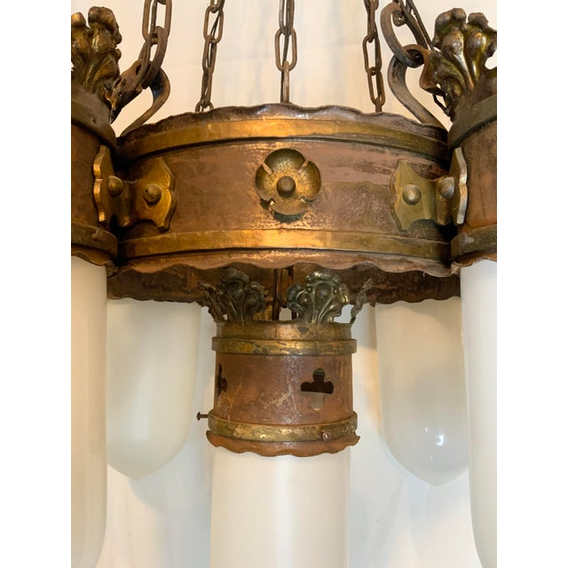 19th Century Gothic 5 Light Pendant Chandelier For Sale - Image 10 of 13