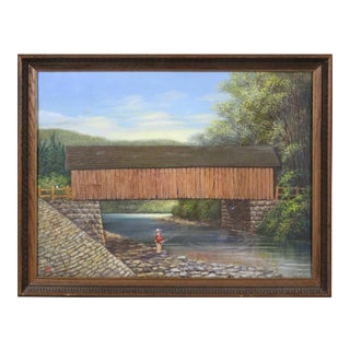 Albert Nemethy Putnam County Covered Bridge Painting For Sale